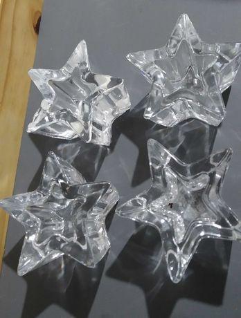 Porta velas formato estrela vidro