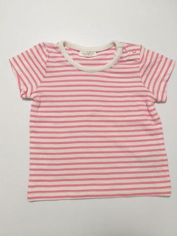 Bluzka w paski r.62 t-shirt letnia bluzeczka krótki rękaw wyprawka
