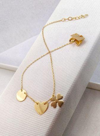 Bransoletka złota (14-karatowa) koniczyna kółko serce BR2954A