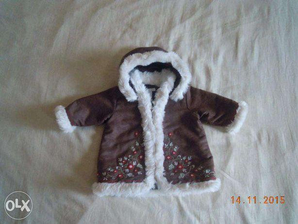 Курточка дубленка на девочку 4-6 месяцев
