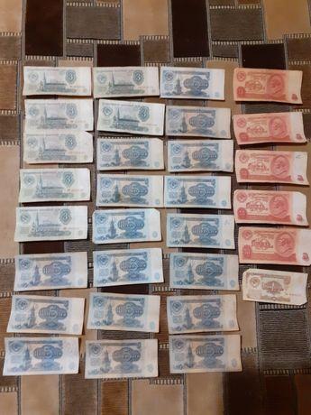 30 купюр советских , номиналом 1 , 3, 5 , 10 рублей