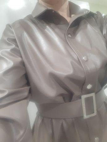 Стильное Платье-Рубашка Эко-Кожа Новое(48)