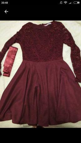 Нарядное платье гипюр замша 46 р. Бордо