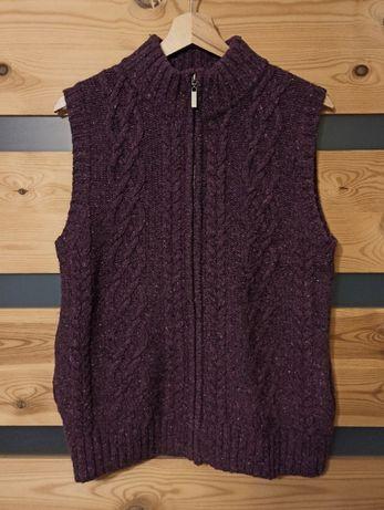 Viyella Petites warkocz sweter wełniana kamizelka zip