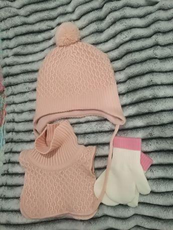 Zestaw czapka i komin H&M dla dziewczynki, rozm. 80cm