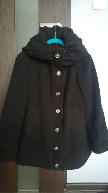 Wełniany czarny płaszcz zimowy ocieplany ciążowy Happymum rozm. S 36