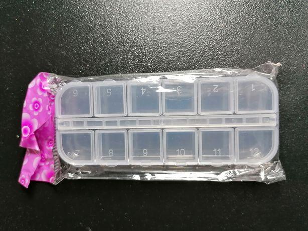 Nowy Mini pojemnik na ozdoby do paznokci 12 przegródek