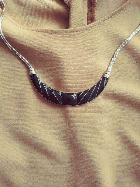 Kolia choker czarna srebrna