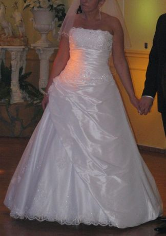 Suknia ślubna, sukienka, welon,tren 42 OKAZJA, KRYSZTAŁKI SWAROVSKIEGO
