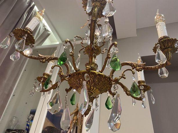 Бронзовая люстра , подвесной светильник с красивыми камнями.