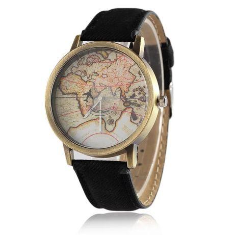 Zegarek samolot świat czarny pasek