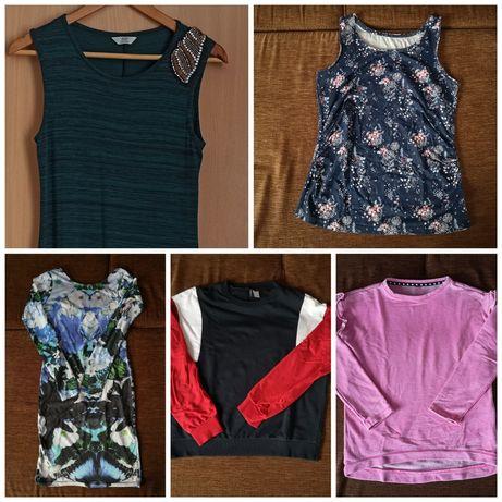 Ciuchy ciążowe S i M - sukienka F&F, bluza H&M, Koszulka Esmara