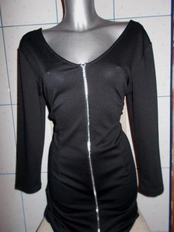 XL 42 44 TOP SECRET Nowa Czarna sukienka z efektownym zamkiem