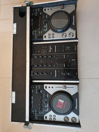 Pioneer 2xCdj400 plus Djm350 Case - idealny stan