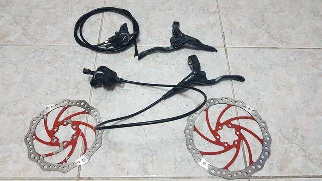 Travões hidráulicos Shimano com discos Force 180 e 160