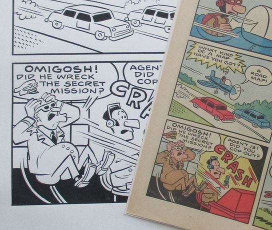 1970 original comic book art - Sad Sack - prancha de banda desenhada