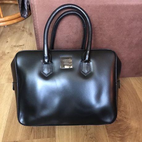 Czarna torebka czarny kuferek SIMPLE skóra naturalna skórzany A4 Tusk