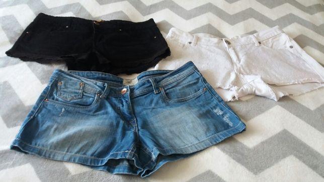 3 pary krótkich spodenek jeansowych