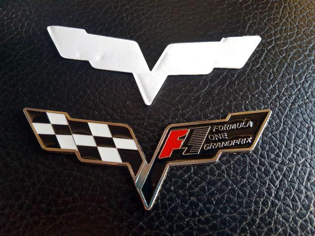 emblemat znaczek logo Chevrolet CORVETTE corvetta c6 czarno biały