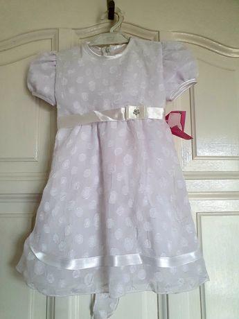 Sukienka biała do Chrztu lub przyjęcie rozm. 74