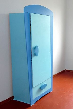 Десткий шкаф Маммут Ikea Mammut, голубой цвет, белый внутри