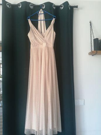 Sukienka długa beżowo - złota