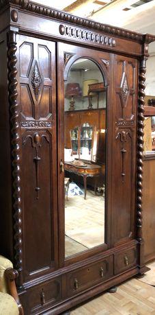 Piękna dębowa  secesyjna szafa z lustrem