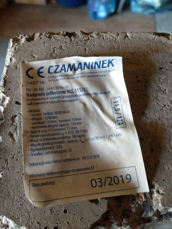 Nadproże żelbetowe Czamaninek