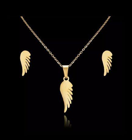 Modny Złoty Komplet Biżuterii