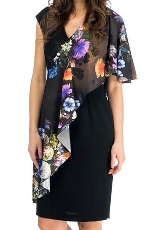 Sukienka Vivien dress - marki RISCA z kolorową szarfą r.40 - nowa