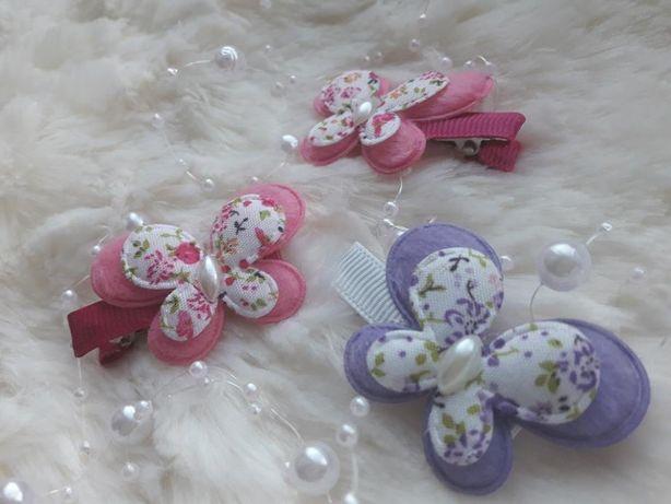 spinki motylki, spinki do włosów handmade, motyle, śliczne, rękodzieło