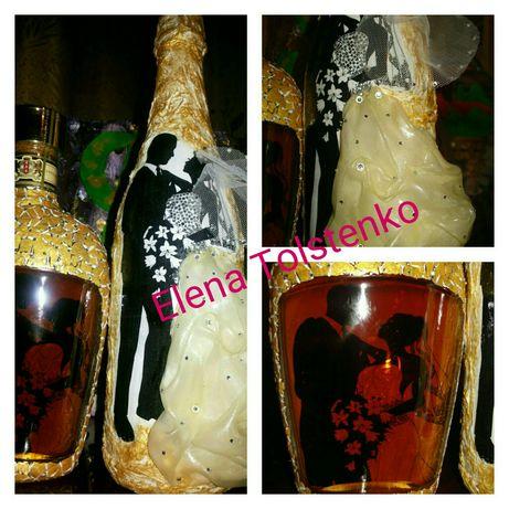 Оформление шампанского на свадьбу и НГ