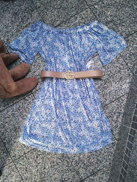 Sukienka niebieska łączka h&m hiszpanka umiwersalna