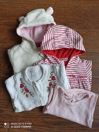 Zestaw ubranek dla dziewczynki rozmiar 68- bluza, sweterek