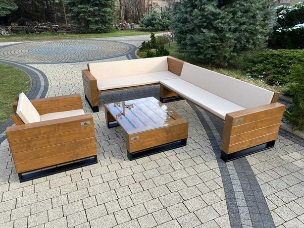 Narożnik ogrodowy drewniany. Drewniany komplet do Twojego ogrodu.