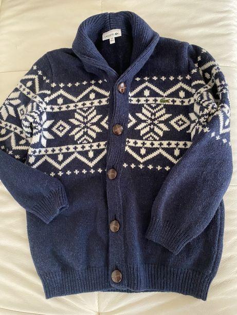 Granatowy sweterek w biale wzory lacoste 10 lat 140 cm