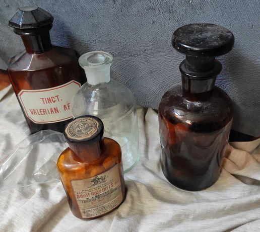 Buteleczki butelki apteczne prl