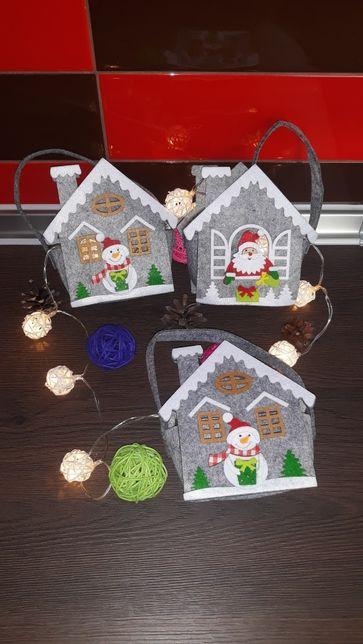 Новогодний домик для сладостей,сумка декор,подарок на Николая Новый Г