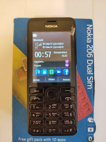 НОВИЙ Телефон Nokia 206 Dual Sim Black (Російська та Англійська Мови)