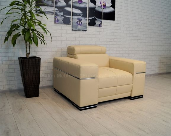 Skórzany Fotel Paris z zagłówkiem Fotele ze skóry skóra naturalna