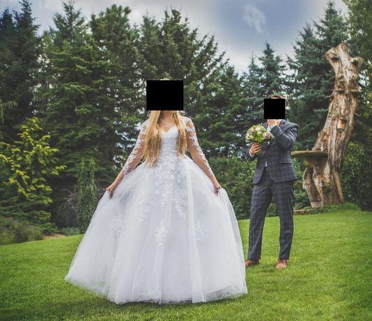 Suknia ślubna Princessa z trenem biała rozmiar 36
