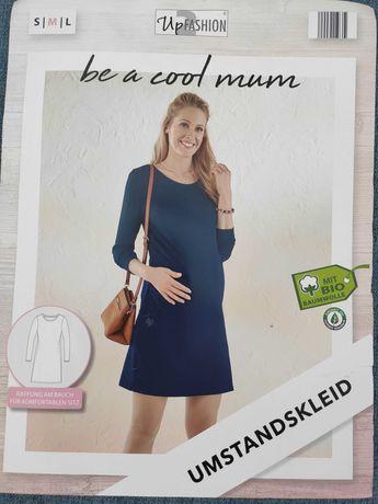 Sukienka ciążowa bawełna organiczna granat Oeko-Tex NOWA