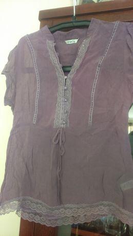 Bluzka lila-róż 100% viskoza +koronka L ,stójka,ozdobne guziki M&CO