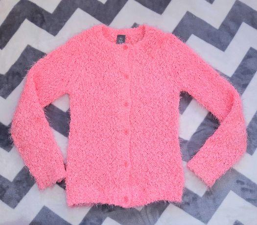 Jak nowy Włochaty Sweterek 128cm  / Neonowy róż