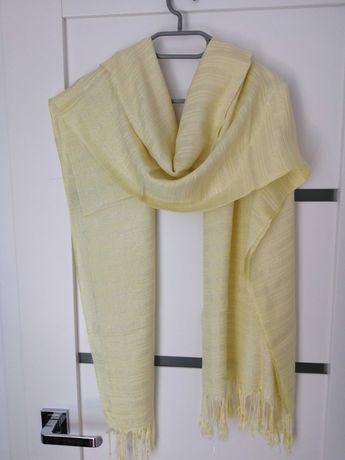 Zółty szalik apaszka ze srebrna nicią
