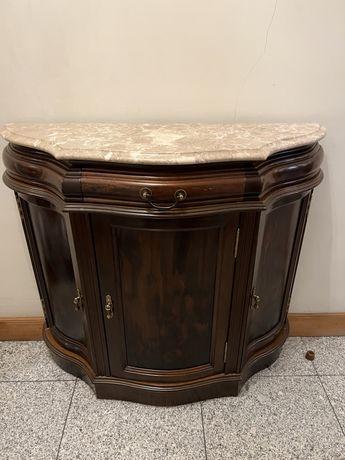 Movel de apoio em madeira com tampo de marmore
