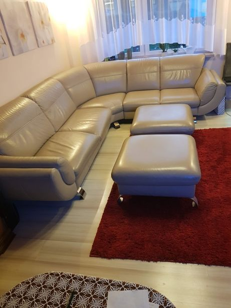 Narożnik skórzany wypoczynek sofa + 2 pufy kremowy skóra kanapa