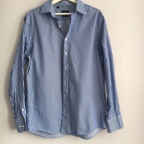 Pierre Cardin koszula elegancka paski granat, niebieska, rozmiar M