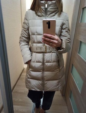 Пуховик zara , бежевый , пудровый, курточка, куртка