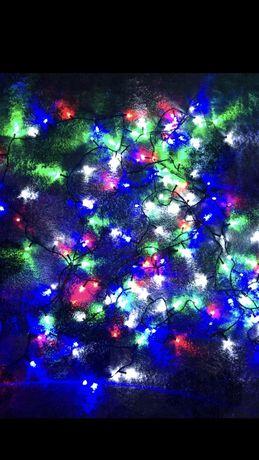 Новогодняя гирлянда Рубин LED 100/200/300/400/500 ламп. мультиколор